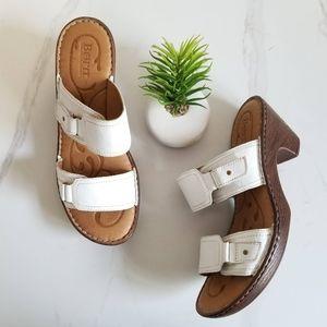 Born Bellot Sandals White Open Toe Platform Heels